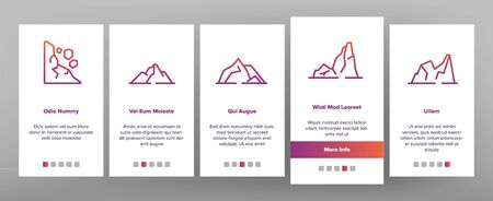 Ridge On boarding Icons Set. Ridge Peak Climbs For Extreme Sport, Adventure And Expedition Illustrations