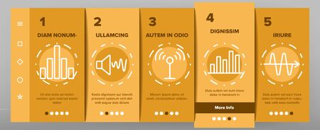 Frequency Pulse Wave Onboarding Icons Set Vector. Microphone And Ear, Radio And Dynamic With Frequency Cardiogram Illustrations