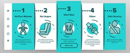 Belt Safety Equipment On boarding Icons Set. Driver Strapped Car Seat Belt, Protection Automobile Device, Baby Chair Illustrations