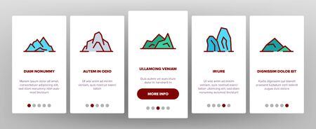 Ridge Onboarding Icons Set Vector. Ridge Peak Climbs For Extreme Sport, Adventure And Expedition Illustrations