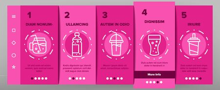 Soda Aqua Beverage Onboarding Icons Set Vector. Soda Bottle And In Glass Cup, With Tube And Ice Cubes, Tacos And Hamburger Illustrations