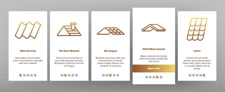 Roof Construction On boarding Icons Set. Sun Solar Battery On House Roof, Metallic And Tile Roofing Material On Building Top Illustrations Stock Illustratie