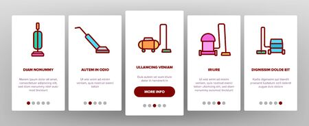 Vacuum Cleaner Device On boarding Icons Set. Industrial And Household, Handheld And Robotic, Canister Cleaner Home Appliance Illustrations