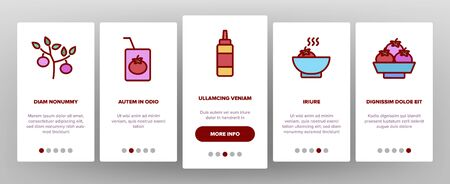 Tomato Vegetarian Food Onboarding Icons Set Vector. Tomato Ketchup And Juice In Glass, Vegetable Sliced Piece And Tree Illustrations