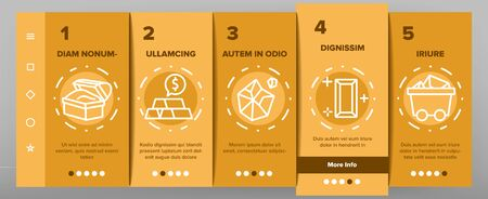 Gold Jewelry Metal Onboarding Icons Set Vector. Safe With Golden Bars, Mining Gold, Bag And Vat With Coin, Mine Cart And Pick Illustrations Ilustração
