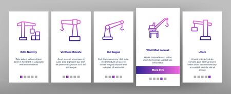 Crane Building Machine On boarding Icons Set. Port Crane Bulldozer With Container, Construction Equipment Illustrations