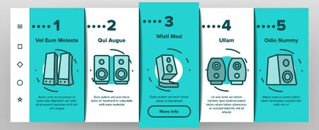 Audio Music Speakers Onboarding Icons Set Vector. Electronic Acoustic Audio Sound Speakers System And Loudspeakers Illustrations