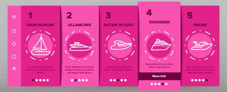 Yacht Marine Transport Onboarding Icons Set Vector. Luxury Yacht, Sailboat, Touristic Ship And Cruise Boat For Sea Trip Illustrations