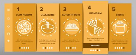 Pasta Dish Gastronomy Onboarding Icons Set Vector. Chinese Pasta In Cup With Chopsticks, Spaghetti On Plate And in Bowl, Nutrition Illustrations Ilustração