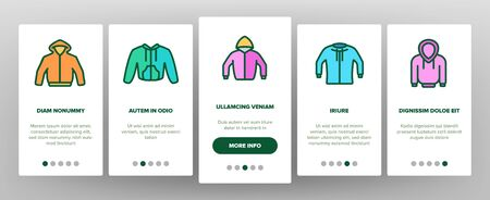 Hoodie And Sweater Onboarding Icons Set Vector. Fashionable Stylish Hoodie With Hood, Warm Clothing With Long Sleeve Illustrations Ilustração