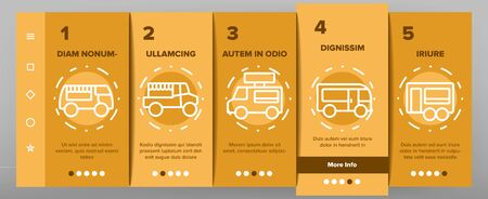 Food Truck Transport Onboarding Icons Set Vector. Food Truck Vehicle With Sausage On Roof, Catering Trailer Street Cafe Illustrations
