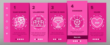 Soccer Champion 2020 On boarding Icons Set. Football World Champion 2020 Goblet, Game Equipment Ball And Gate Illustrations