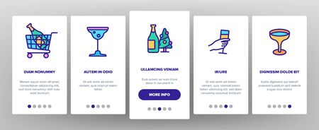 Champagne Beverage On boarding Icons Set. Bottle Champagne In Bucket And Box, Glasses With Alcoholic Drink Illustrations