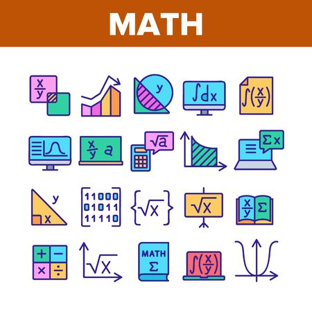 Math Science Education Collection Icons Set Vector. Math Formula And Function, Geometry Figure And Binary Code, Calculator And Book Concept Linear Pictograms. Color Illustrations Ilustração