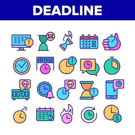 Deadline Time Over Collection Icons Set Vector. Deadline Time Management, Calendar And Clock, Stopwatch And Hourglass, Bomb And Phone Concept Linear Pictograms. Color Illustrations