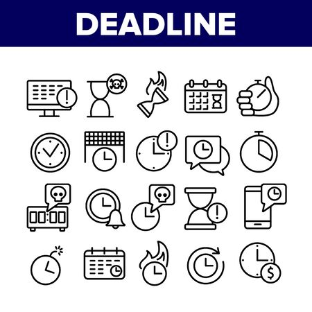 Deadline Time Over Collection Icons Set Vector. Deadline Time Management, Calendar And Clock, Stopwatch And Hourglass, Bomb And Phone Concept Linear Pictograms. Monochrome Contour Illustrations