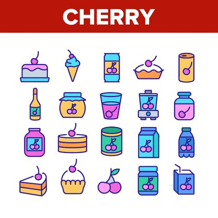 Cherry Vitamin Berry Collection Icons Set Vector. Cherry On Pie And Cake, Juice And In Drink Cup, Fresh And Pickles, Blender And Harvest Concept Linear Pictograms. Color Illustrations Illustration