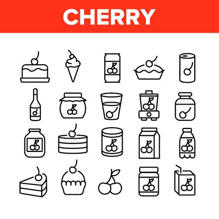 Cherry Vitamin Berry Collection Icons Set Vector. Cherry On Pie And Cake, Juice And In Drink Cup, Fresh And Pickles, Blender And Harvest Concept Linear Pictograms. Monochrome Contour Illustrations 向量圖像