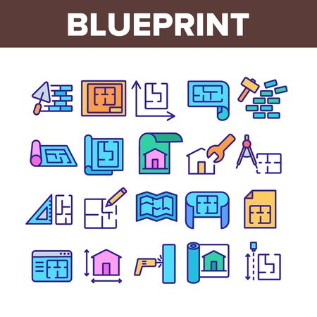 Blueprint Architecture Collection Icons Set Vector. House Project On Blueprint, Brick Wall With Construction Spatula, Hammer And Puncher Concept Linear Pictograms. Color Illustrations