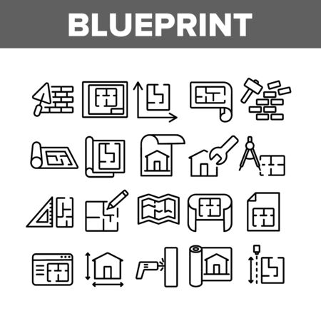 Blueprint Architecture Collection Icons Set Vector. House Project On Blueprint, Brick Wall With Construction Spatula, Hammer And Puncher Concept Linear Pictograms. Monochrome Contour Illustrations Ilustracja