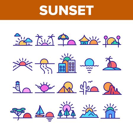 Sunset Or Sunrise Collection Icons Set Vector. Sunset Over Of Ocean And Sea, Road And City, Beach And Park, Desert And Pyramids Concept Linear Pictograms. Color Illustrations Ilustracja