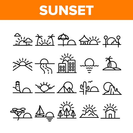 Sunset Or Sunrise Collection Icons Set Vector. Sunset Over Of Ocean And Sea, Road And City, Beach And Park, Desert And Pyramids Concept Linear Pictograms. Monochrome Contour Illustrations