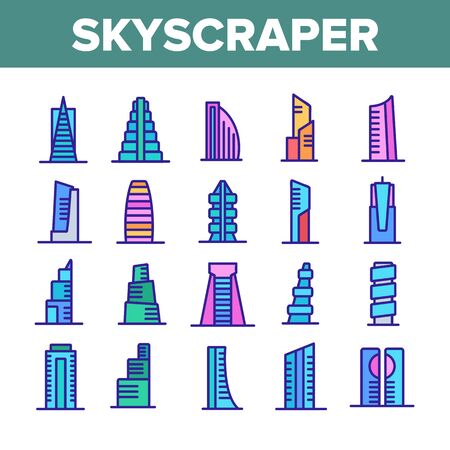 Skyscraper Building Collection Icons Set Vector. Architecture And Exterior Skyscraper, Business City House And Construction Concept Linear Pictograms. Color Illustrations