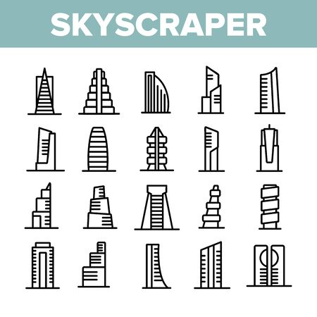 Skyscraper Building Collection Icons Set Vector. Architecture And Exterior Skyscraper, Business City House And Construction Concept Linear Pictograms. Monochrome Contour Illustrations