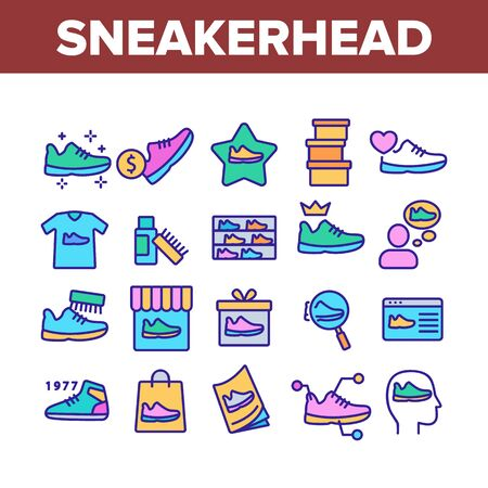 Sneakerhead Footwear Collection Icons Set Vector. Sneakerhead In Gift Box And Bag, Cleaning Brush And Cream, Online Shopping And Store Concept Linear Pictograms. Color Illustrations