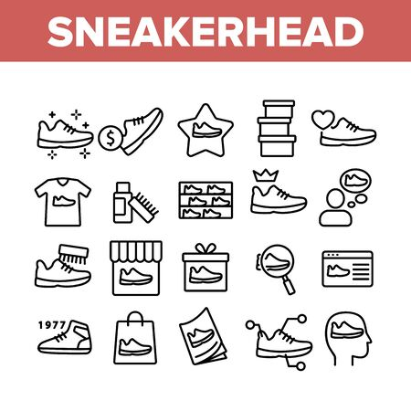 Sneakerhead Footwear Collection Icons Set Vector. Sneakerhead In Gift Box And Bag, Cleaning Brush And Cream, Online Shopping And Store Concept Linear Pictograms. Monochrome Contour Illustrations