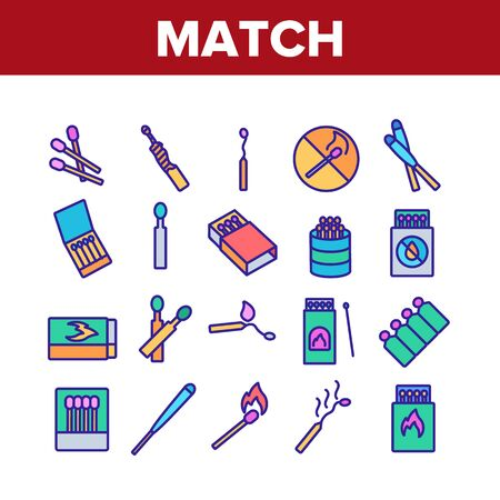 Match Burning Fire Collection Icons Set Vector. Burnt Wooden And Sulphur Match And Flame, Box And Package, Matchstick Crossed Mark Concept Linear Pictograms. Color Illustrations