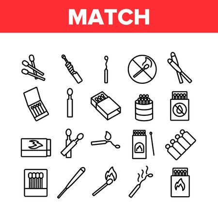 Match Burning Fire Collection Icons Set Vector. Burnt Wooden And Sulphur Match And Flame, Box And Package, Matchstick Crossed Mark Concept Linear Pictograms. Monochrome Contour Illustrations