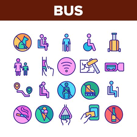 Bus Travel Prevent Collection Icons Set Vector. Crossed Dog And Alcohol, Food And Smoking Bus Marks, Wifi And Ticket, Invalid And Children Concept Linear Pictograms. Color Illustrations 向量圖像