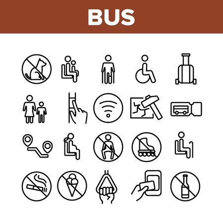 Bus Travel Prevent Collection Icons Set Vector. Crossed Dog And Alcohol, Food And Smoking Bus Marks, Wifi And Ticket, Invalid And Children Concept Linear Pictograms. Monochrome Contour Illustrations 向量圖像