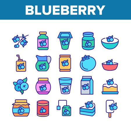 Blueberry Berry Food Collection Icons Set Vector. Blueberry Juice And Yogurt, Ice Cream And Pie, Jam And Tea, Sweet Drink Cup And Package Concept Linear Pictograms. Color Illustrations
