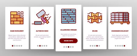 Tile Floor Material Onboarding Icons Set Vector. Brick On Pallet And Hammer, Different Form And Style Flooring Tile, Parquet And Wall Illustrations
