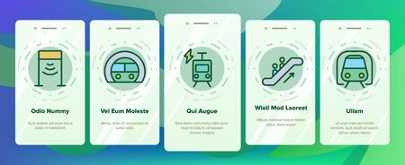 Metro Underground Onboarding Icons Set Vector. Metro Train And Equipment, Ticket And Card, Door And Video Camera, Escalator And Turnstile Illustrations 向量圖像