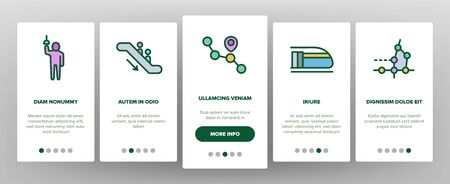 Metro Underground Onboarding Icons Set Vector. Metro Train And Equipment, Ticket And Card, Door And Video Camera, Escalator And Turnstile Illustrations 일러스트