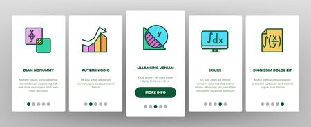 Math Science Education Onboarding Icons Set Vector. Math Formula And Function, Geometry Figure And Binary Code, Calculator And Book Illustrations