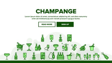 Champagne Beverage Landing Web Page Header Banner Template Vector. Bottle Champagne In Bucket And Box, Glasses With Alcoholic Drink Illustration