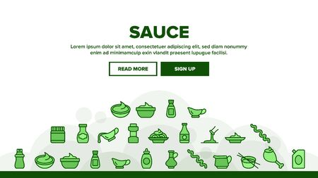 Sauce Spicy Cream Landing Web Page Header Banner Template Vector. Ketchup, Mustard And Olive Oil Bottles And Containers, On Chicken Leg Illustration Ilustracja