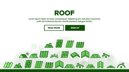 Roof Construction Landing Web Page Header Banner Template Vector. Sun Solar Battery On House Roof, Metallic And Tile Roofing Material On Building Top Illustration