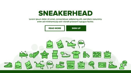 Sneakerhead Footwear Landing Web Page Header Banner Template Vector. Sneakerhead In Gift Box And Bag, Cleaning Brush And Cream, Online Shopping And Store Illustration