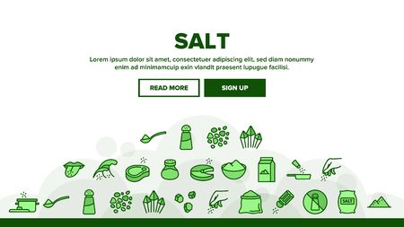 Salt Flavoring Cooking Landing Web Page Header Banner Template Vector. Salt On Human Tongue And In Bowl, Fish And Meat, Package And Bag, Shaker And Bottle Illustration Vettoriali