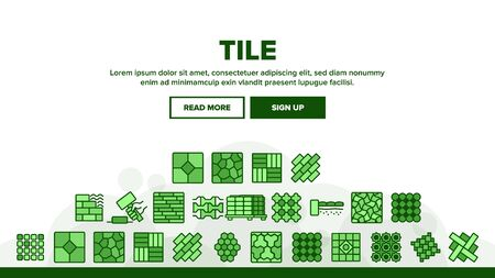 Tile Floor Material Landing Web Page Header Banner Template Vector. Brick On Pallet And Hammer, Different Form And Style Flooring Tile, Parquet And Wall Illustration