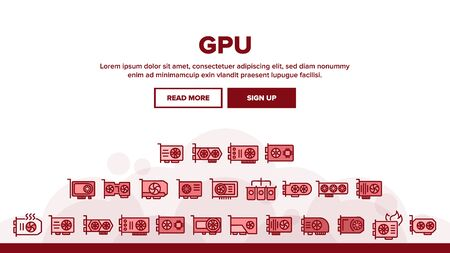 GPU video graphics card Landing Web Page Header Banner Template Vector. GPU microchip processor Illustration