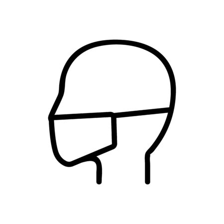 head, mask icon vector. Thin line sign. Isolated contour symbol illustration Ilustração