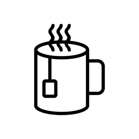 Mug hot tea icon vector. Thin line sign. Isolated contour symbol illustration Vectores