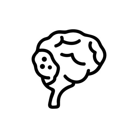 cancer, brain icon vector. Thin line sign. Isolated contour symbol illustration