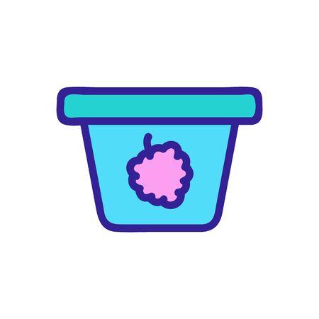 Raspberry yogurt icon vector. Thin line sign. Isolated contour symbol illustration Illustration